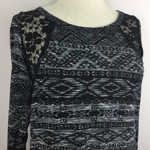 Maurices Long Sleeve Blouse Size S Black Grey